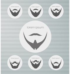 round icons beard with mustache vector image vector image