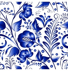 Seamless russian gzhel patterns on a white vector image