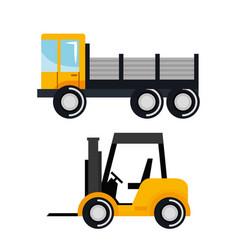 set construction vehicle transport work machine vector image vector image