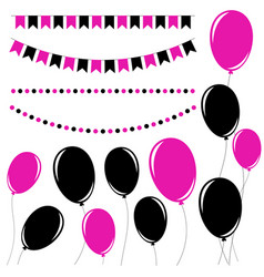 Set of flat black and pink isolated silhouettes vector