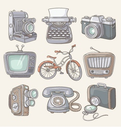 Set of vintage items icons vector image vector image