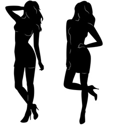 sexy woman silhouettes in short dresses vector image vector image