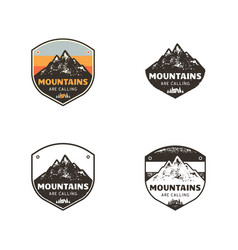 Ski club mountains explorer labels vintage hand vector