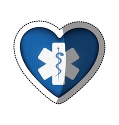 Sticker in heart shape with cross health symbol vector
