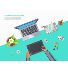 Top view of creative workplace vector