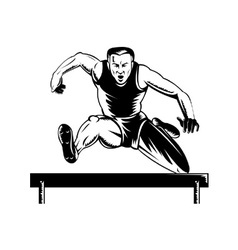 Track and field athlete jumping hurdles vector