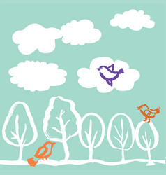 Trees and birds hand drawn vector