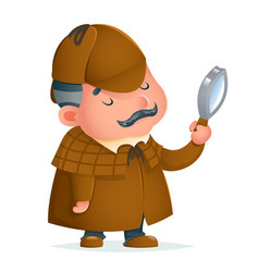 Victorian detective gentleman magnifying glass vector
