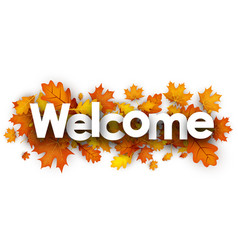 Welcome banner with orange leaves vector