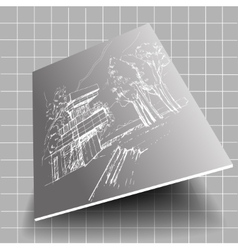 white architecture sketch gray background with vector image
