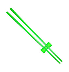 Wooden chopsticks in green design vector