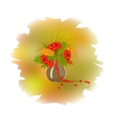 Decorative bouquet of rowan leaves vector