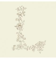 floral font letter l vector image