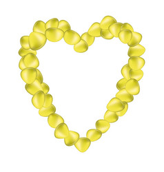 Yellow rose petals in shape of heart vector