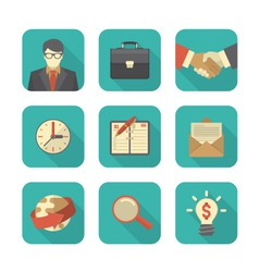 Modern flat business icons set vector