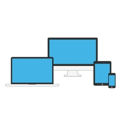 Electronic devices with blue blank screens vector