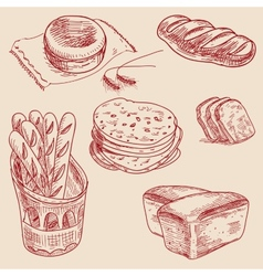 Bakery products hand drawn sketch different kinds vector