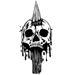 Skull with stake vector