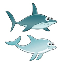 Dolphin and shark vector