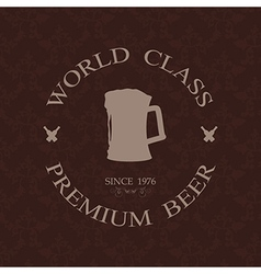 Vintage world class premium beer label stamp vector