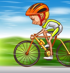 Man riding bike on the road vector