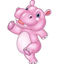 Cartoon baby hippo running isolated vector