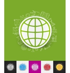 Globe paper sticker with hand drawn elements vector