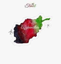 Travel around the world Afghanistan Watercolor map vector image