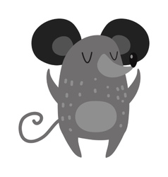Cartoon smiling gray hand drawn mouse arms vector