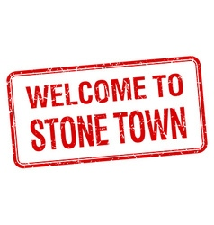 Welcome to stone town red grunge square stamp vector