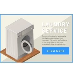Washing machine isometric flat vector