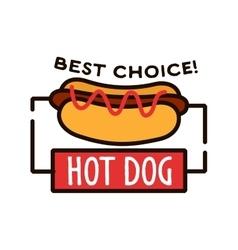 Hot dog shop retro badge for fast food design vector image