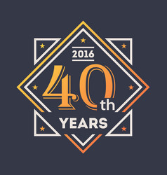 Anniversary design element 40th years label vector