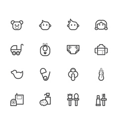 Baby stuff black icon set on white background vector