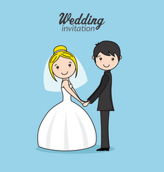 Beautiful couple of newlyweds holding hands vector