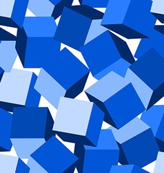 Blue 3D blocks in a seamless pattern vector image vector image