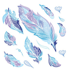 blue zentangle feathers set vector image