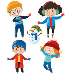 boys and girls in winter clothes vector image