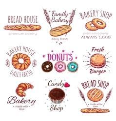 Bread house logo set vector