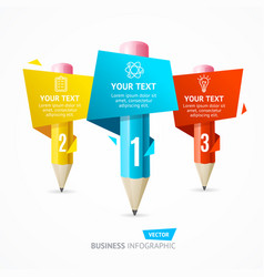 Business infographic pencil banner card vector