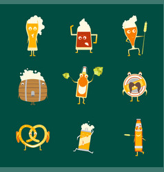 cartoon funny beer characters icons set vector image vector image