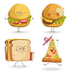 Cheerful fast food cartoon characters with human vector