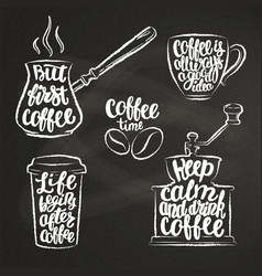 coffee lettering in cup grinder pot chalk shapes vector image vector image