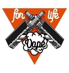 Color vintage vape e-cigarette emblem vector