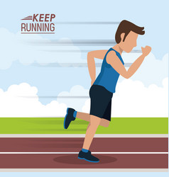 Colorful poster keep running with male athlete vector