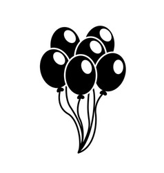 Contour balloons party to happy birthday vector