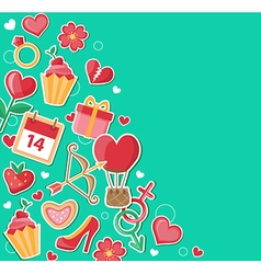 Decorative green background for Valentines day vector image vector image