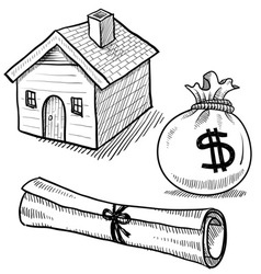 doodle mortgage loan rent house debt money vector image vector image