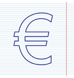 Euro sign navy line icon on notebook vector