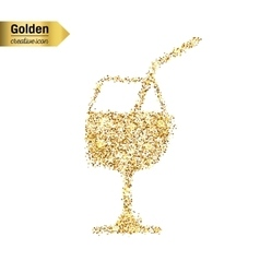 Gold glitter icon of a glass of drink vector
